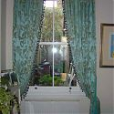 Sumptuous duck egg blue silk curtains